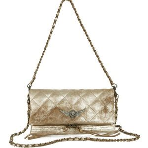 Zadig & Voltaire gold leather clutch
